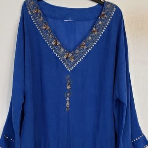 Blue crinkled gold embroidered sequined tunic